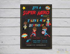"""Superhero 5x7 invitation (Pick Your Hair Color) and 2"""" circle pack (including cupcake topper) by KarinakdDesigns on Etsy"""