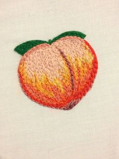 Peach. Embroidery.