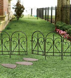 Elegant Black Steel Scroll Finial Fence with Latch Gate Dog Garden, Garden Gates, Garden Ideas To Keep Animals Out, Indoor Garden, Outdoor Gardens, Outdoor Projects, Outdoor Decor, Outdoor Life, Outdoor Spaces