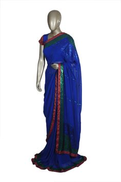 royal blue saree with bottle greene sequins work on it