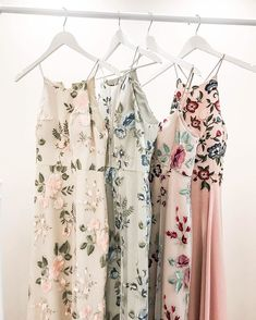 Jenny Yoo Bridesmaids • Floral Embroidered Long Dresses in shades of blush, blue and pink // perfect for a Boho Chic Garden Wedding