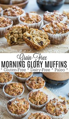 Paleo grain-free morning glory muffins made with almond flour and coconut sugar. these healthy muffins are a great breakfast or snack. Almond Flour Muffins, Almond Flour Recipes, Paleo Banana Muffins, Almond Flour Baking, Paleo Zucchini Muffins, Coconut Sugar Recipes, Almond Flour Desserts, Coconut Flour Banana Bread, Flourless Muffins