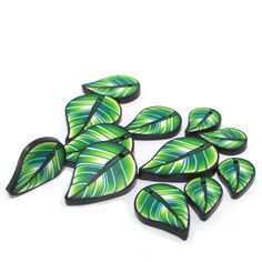 Leaf beads for Cha Cha bracelets, earrings and more, Green leaf shaped beads with gold, Polymer clay set of 12 flat leaf beads on Etsy, $11.03 CAD