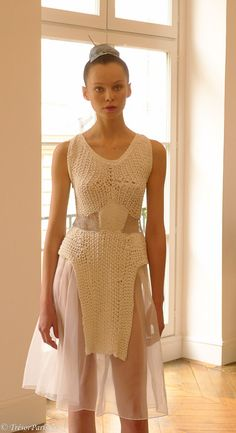 Knitwear on models at the Le Moine Tricot presentation in Paris SS 13 collection
