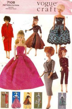 PDF Barbie Pattern Vintage Inspired wardrobe Vogue 7108