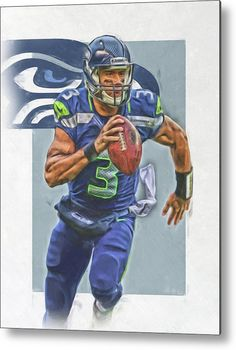 Russell Wilson Metal Print featuring the mixed media Russell Wilson Seattle Seahawks Oil Art by Joe Hamilton