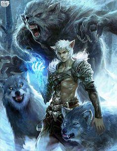 Artist: Seunghee Lee aka tranquillo - Title: Wolfe, Werewolf Packmaster - Card: Wolfe, Werewolf Packmaster