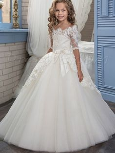 Half Sleeves Off the Shoulder Appliques A-Line Flower Girl Dress ff709e69b788