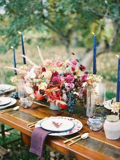 Colorful autumn orchard wedding table decor: http://www.stylemepretty.com/little-black-book-blog/2015/11/25/autumn-orchard-wedding-inspiration/ | Photography: Callie Hobbs - http://calliehobbsphotography.com/