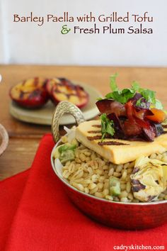 Barley Paella with Grilled Tofu and Spicy Plum Salsa - a beautiful vegan dinner | cadryskitchen.com