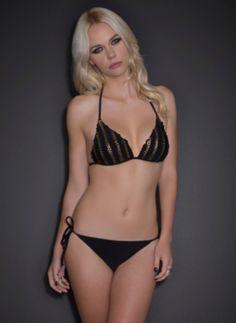Gold Stud & Ruffle Triangle Bikini Top | Accessories