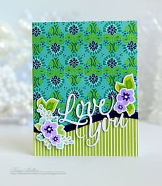 Love You Card by Kay Miller for Papertrey Ink (June 2016)