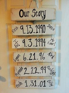 OUR STORY - Important DATES wood sign - First Date, Engagement Date, Wedding Date - Wedding Gift, Valentine's Day Gift, Anniversary Gift, on Etsy, $40.00 Pallet Crafts, Pallet Projects, Art Projects, Diy Crafts, Traditions To Start, Woodworking Shop, Woodworking Plans, Love Is Sweet, Wooden Signs