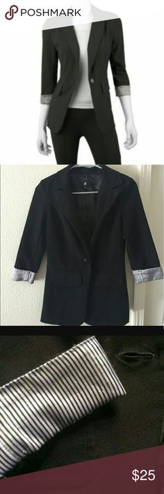 IZ Byer Black Boyfriend Blazer Excellent IZ Byer blazer. It is extremely slimming and adds a touch of class to any outfit. Casual enough to be worn with jeans, but could be easily added to a pair of black skinny trousers. There is a pinstripe pattern as shown in third photo. Both front pockets are fake.   Says L, best for M/L range.   75% polyester, 21% rayon. Iz Byer Jackets & Coats Blazers