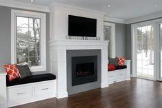 Image result for fireplace mantels with windows on each side and window seats or doors