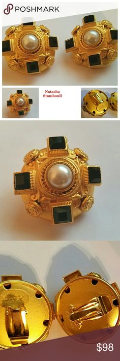 Vintage NATASHA STAMBOULI Byzantine Onyx Earrings Exquisite Byzantine design clip on earrings from 90s designer Natasha Stambouli! Stunning matte gold plated finish embellished with onyx and a faux pearl center. Excellent Condition. Natasha Stambouli Jewelry Earrings