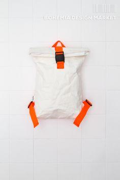 White Backpack #white #orange #eco #vegan #handmade #rollup #backpack #original #local #design Bohemia Design, White Backpack, Backpacks, Vegan, Orange, The Originals, Stuff To Buy, Handmade, Accessories