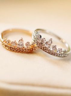 Gold and silver crown rings