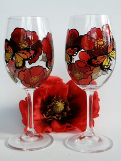 Hand painted wine glass- Red poppies and butterflies