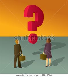 A business man and woman staring at a large floating question mark. - stock vector