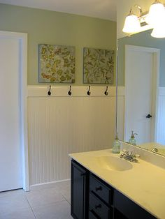 bathroom - love the beadboard and hooks, and the cabinet color