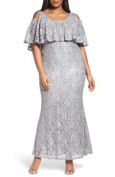 c33eacb6f8d Marina Sequin Lace Cold Shoulder Long Dress (Plus Size) Mother Of The Bride  Jackets