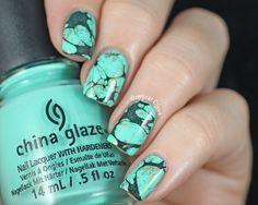 Turquoise Stone Nail Art & China Glaze Too Yacht To Handle | Copycat Claws | Bloglovin'