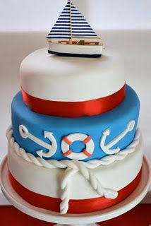 Nautical party cake with fruit roll up red stripes
