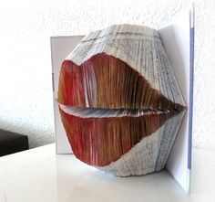 """Book Art Sculpture """"Red lips"""" Doing this for next Valentines day awww"""