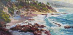 Rick J. Delanty, Laguna Coast, oil, 12 x 24. #land #sky #sea #artist #featuredartist #newartist #emergingartist #art #fineart #buyfineart #collectart #ilovethisart #artcollectors #landscapes #oilwork #paintings
