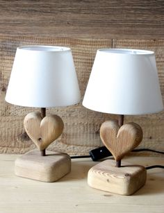 Set of 2 table lamps Heart ( Petit ) made with Bio Larch