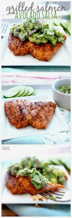 Healthy Avocado Recipes - Grilled Salmon with Avocado Salsa - Easy Clean Eating Recipes for Breakfast, Lunches, Dinner and even Desserts - Low Carb Vegetarian Snacks, Dip, Smothie Ideas and All Sorts of Diets - Get Your Fitness in Order with these awesome Paleo Detox Plans - thegoddess.com/healthy-avocado-recipes