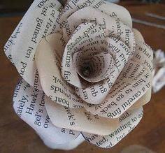 Paper roses made from pages of old book