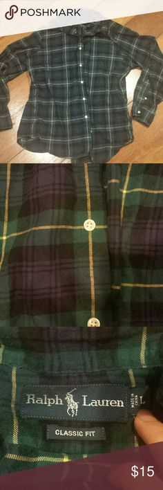 Ralph Lauren Polo oversized flannel shirt May be somewhat vintage but I'm not sure. A thin men's size large flannel plaid button down shirt in green and navy blue. Very classic. Looks cute oversized on a girl. Could use an ironing. Polo by Ralph Lauren Tops Button Down Shirts