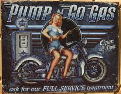 Pump n' Go Blue Star Gas Vtg Motorcycle Pinup TIN SIGN garage wall decor ad 1698