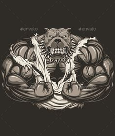 Angry dog bodybuilder by Vector graphics Install any size without loss of quality. ZIP archive contains: - one file - one file JPEG - one file PNG Hulk Artwork, Illustrations Vintage, Vector Illustrations, Gorilla Tattoo, Goofy Disney, Dog Tattoos, The Villain, Funny Art, Bulldog Mascot