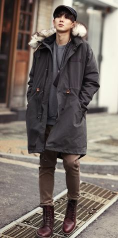 I love This Style Nice Jacket and Skinny pant match with Boots #korean #mens #fashion #simple #style #cool #street #Glamour #gorgeous #casual