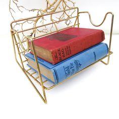 Vintage Metal Book Rack, Desk Top Organizer, Tabletop Bookshelf, Wire Shelf, Storage Rack by WhimzyThyme on Etsy #bookrack #deskorganizer #metalrack