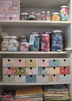 Ikea storage drawers decorated for craft storage Sewing Room Organization, Craft Room Storage, Craft Rooms, Storage Ideas, Craft Shelves, Organization Ideas, Diy Storage, Storage Bins, Closet Storage