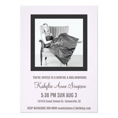 Cute Baby Pink and Gray Sweet 16 Party 4.5x6.25 Paper Invitation Card