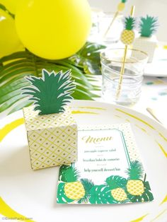 Party Like a Pineapple birthday party theme with lots of creative ideas on DIY decorations, printables, party food, favors and photo booth props! Ideal for summer celebrations too!