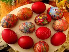How to dye eggs with threads- Πώς βάφουμε αυγά με κλωστές kitchenette: How to dye eggs with yarn -