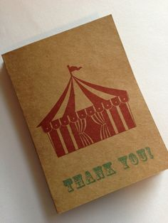 Big Top Tent Circus Thank You Cards- Vintage Circus Inspired- Wedding, Birthday Party, Baby Shower (10). $8.00, via Etsy.