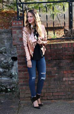 Nashville Style Blogger Gold Sequin Blazer - #LexWhatWear #fashionblog #styleblogger #styleinspo #outfitideas #outfitinspiration #distresseddenim #floralprintscarf #sequins #outfit #nashvillestyle #easyoutfitideas