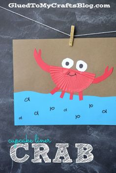 Adorable cupcake liner crab craft for kids. Paper Plate Crab, Paper Plates, Sea Crafts, Glue Crafts, Art For Kids, Crafts For Kids, Arts And Crafts, Cupcake Liner Crafts, Cupcake Liners