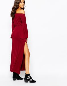 Image 2 ofBoohoo Off The Shoulder Maxi Dress