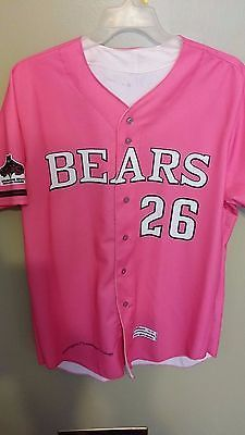 2012 TACOMA BEARS BREAST CANCER GAME USED BASEBALL JERSEY SIZE XL AUTOGRAPHED