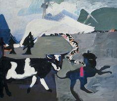 Teresa Pągowska | <i>Z CYKLU WAKACJE NA PODGÓRZU-POWRÓT STADA, 1989</i> | tempera, akryl, płótno | 130 x 150 cm