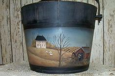 Large Wood Bucket HAnd Painted with Amish Harvest scene