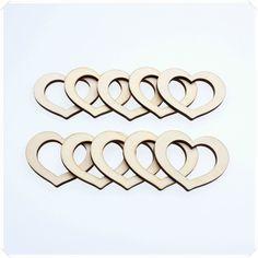10p 4.5cmW WOODEN ROMANTIC LOVE HEART IN HEART DECOR IDEAL WEDDING CARD MAKING #Handmade